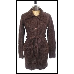 BCBGmaxazria Brown Mohair Blend Belted Cardigan Sm